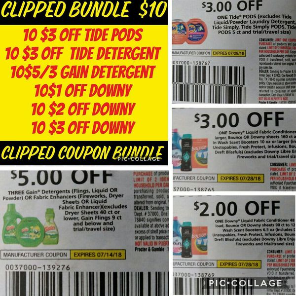 Clipped Coupons Bundle July P and G with tide for Sale in Irving, TX -  OfferUp