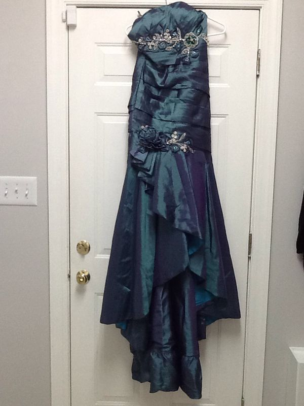 Blue Green Satin Dress By Riva Designs For Sale In Greensboro Nc