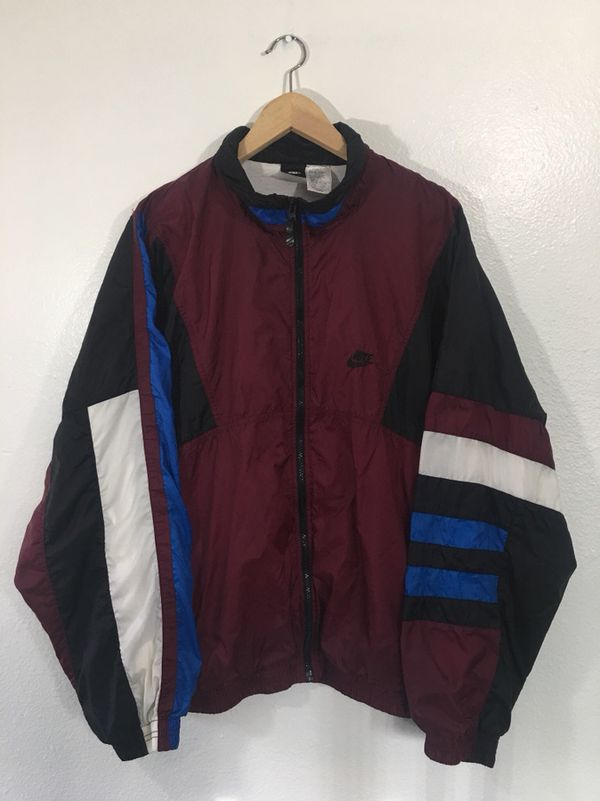 74f571cdae Vintage 90s Nike Air Swoosh Windbreaker Jacket Size XXL Maroon Black White  Blue