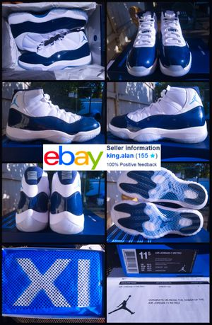 NEW 2017 NIKE AIR JORDAN 11 RETRO SIZE 11.5 WIN LIKE 82 NAVY BLUE UNC RECEIPT ATTACHED 100% AUTHENTIC for Sale in Richmond, CA