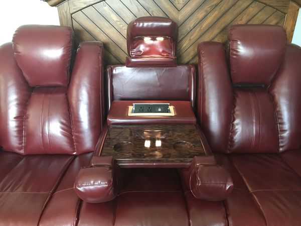 Burgundy leather theater sofa (Furniture) in Highland, IN - OfferUp