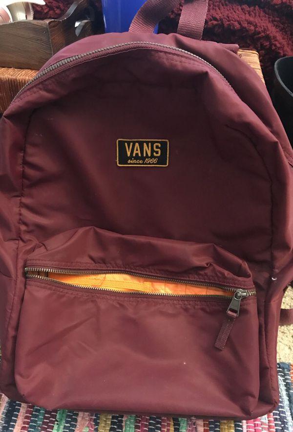Burgundy orange vans backpack for Sale in Sacramento