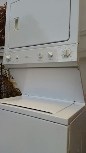 Washer and dryer Stack like new 4 months warranty for Sale in Falls Church, VA