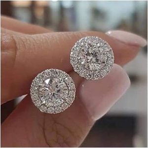 Photo NEW 1.25ct Round Moissanite White Diamond Halo Brilliant Cut Stud Earrings 18K White Gold