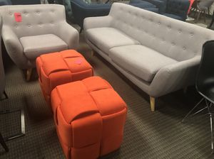 4pc mid century modern sofa chair and ottomans set for Sale in Alexandria, VA