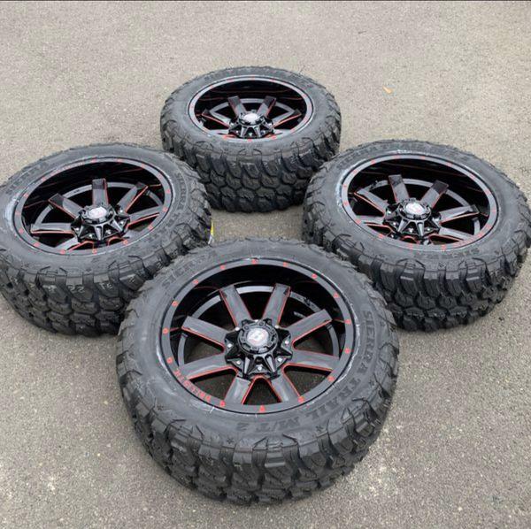 "New 5Lug Dodge Ram / Jeep 20X10 Wheels And 33"" Mud Tires"