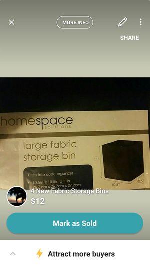 4 New Fabric Storage Bins for sale  Wichita, KS