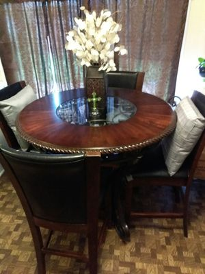 Beautiful Wood & Ornate Wrought Iron Dining Table w/4 Chairs for sale  Broken Arrow, OK