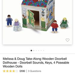 Melissa And Doug Wooden Doorbell Doll House With Keys And Dolls  Thumbnail