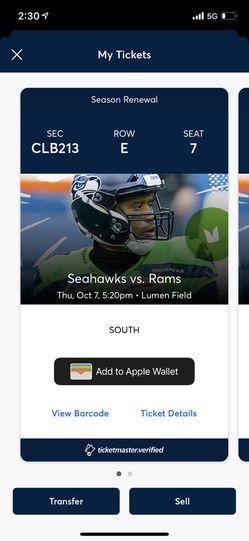 Seahawks vs Titans - Club Seats  Thumbnail