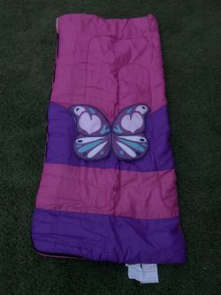 GIRLS BUTTERFLY SLEEPING BAG 2 FT IN X 4 FT 7 IN Like New - just used once. Comes with backpack. Feel free to message me. Thumbnail