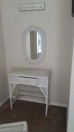 Wicker vanity and Stand up mirror Thumbnail