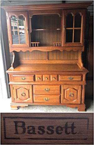 Bassett Honey Maple Country Two Piece China Cabinet for Sale in Ellicott City, MD