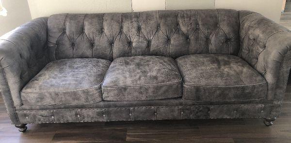 Bernhardt Gray Leather Sofa Phoenix Az