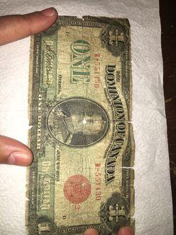 Canada 1923 authentic dollar bill Thumbnail