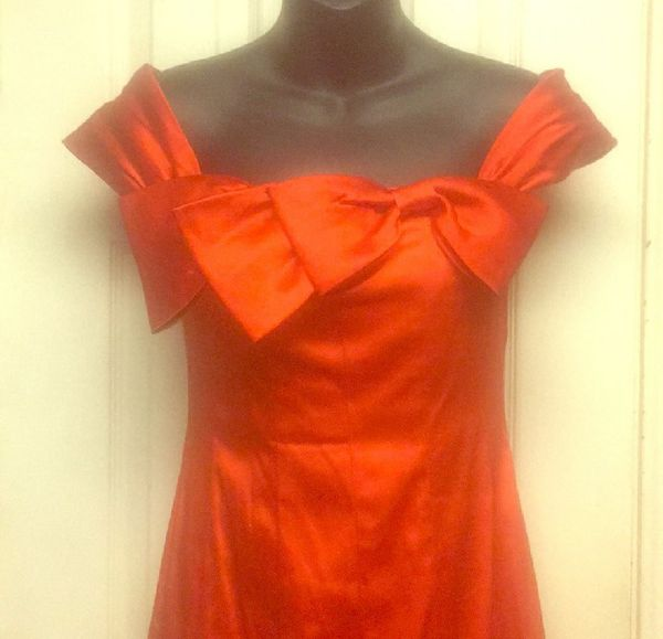 Phoebe Couture Flaming Orange Satin Formal Dress 2 For Sale In