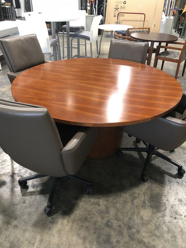 GORGEOUS LIKE NEW CHERRY WOOD CONFERENCE TABLE Chairs Sold - Round wood conference table