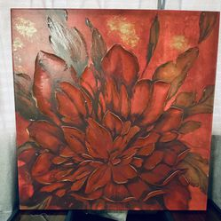 Large Red Flower Painted Canvas Thumbnail