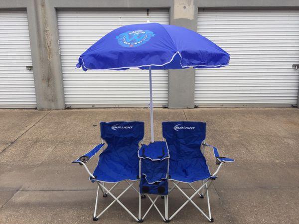Bud Light Double Lawn Chair W Umbrella