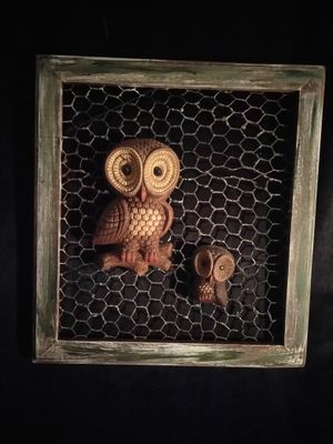 """decor primitive frame owls with chicken ware 15"""" x 16"""" 1/2"""" tall for Sale in Philadelphia, PA"""