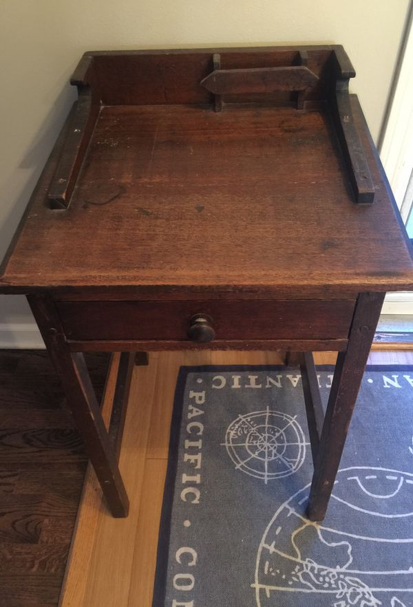 Antique Student School Desk Wood with Pencil Holder and Drawer - Antique Student School Desk Wood With Pencil Holder And Drawer For