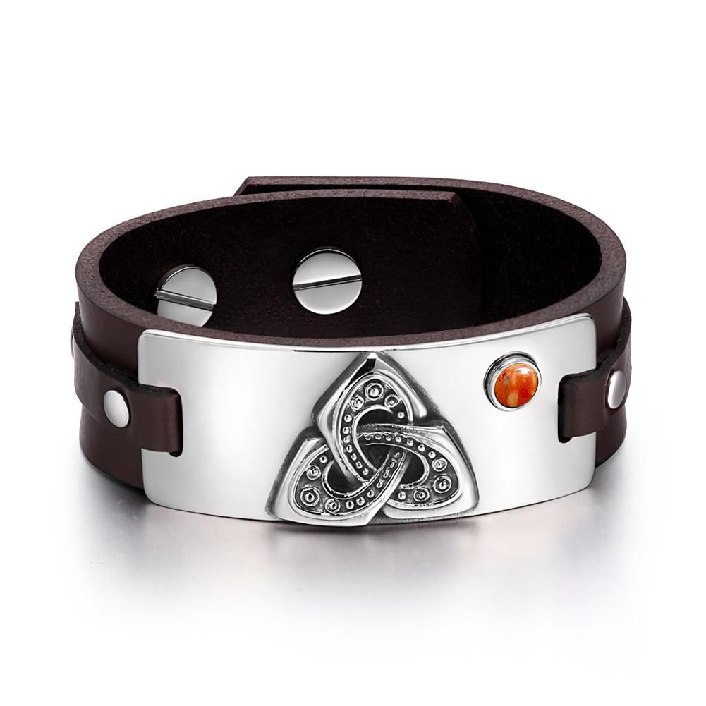 Celtic Triquetra Knot Powers Amulet Tag Red Jasper Gemstone Adjustable Dark Brown Leather Bracelet