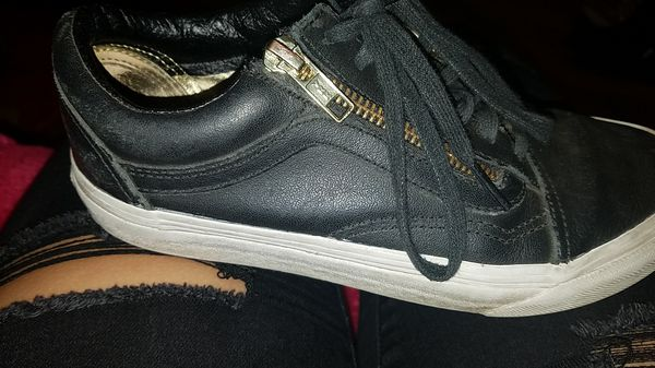 Black leather vans. Zipper on the side. Women s Size 6 for Sale in ... c007e37cda
