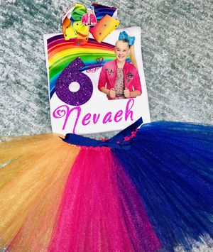 JoJo Siwa Rainbow Birthday Outfit Personalized Shirt Tutu Large Bow For Sale