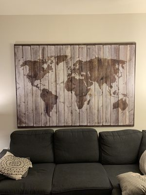 BJÖRKSTA Picture and frame, driftwood map, aluminum color, 78 ¾x55 for Sale in Vienna, VA