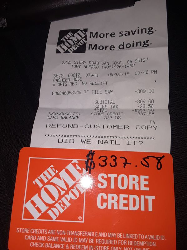 Store Credit At Home Depot For Sale In San Jose Ca Offerup