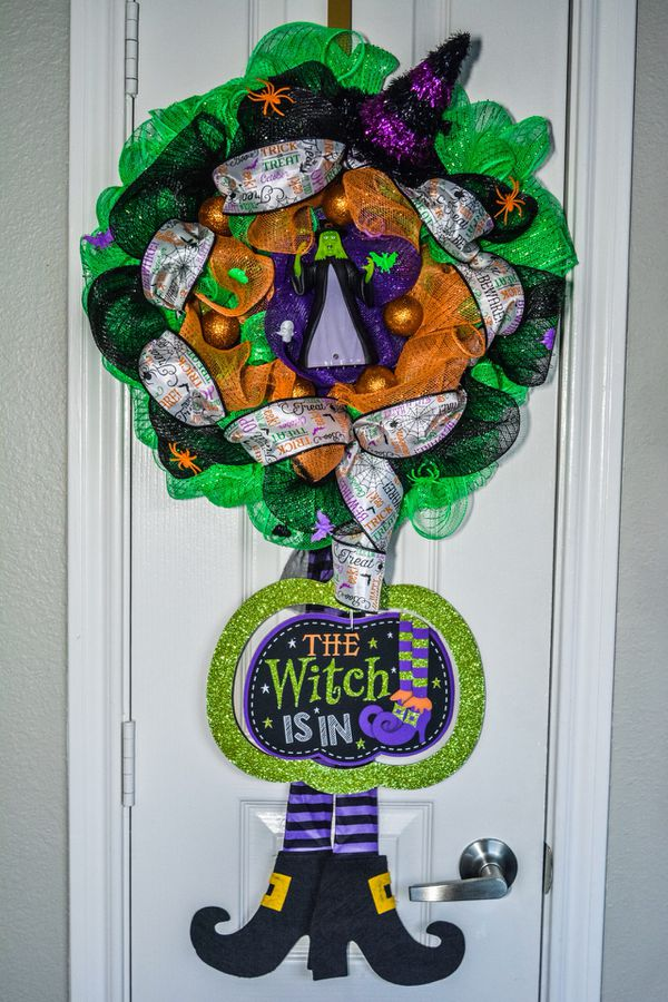 """The Witch Is In"" Deco Mesh Halloween Wreath  for Sale in Dallas, TX -  OfferUp"
