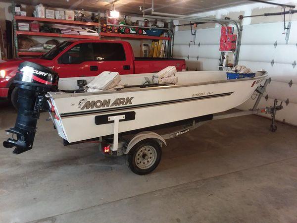 Fishing Boat & Trailer Monark 14' aluminum Mercury 25hp 2 stroke motor for  Sale in Saint Michael, MN - OfferUp