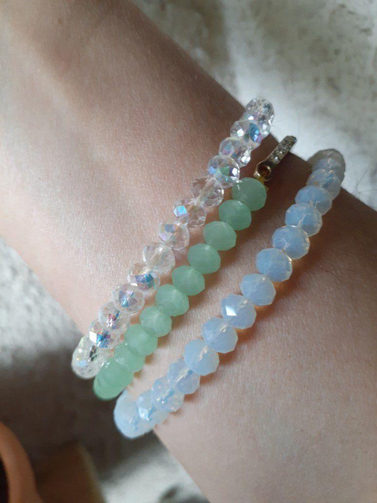 Opalite Cross Bracelet Set