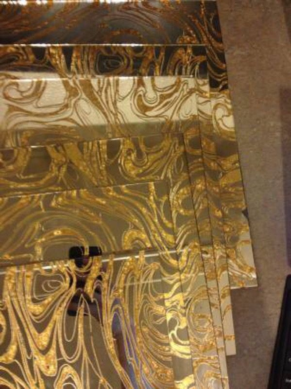 Gold Vein Mirror Glass Tiles Mid Century Modern For Sale