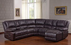 Bubble Leather Brown Sectional Sofa With Recliner Chaise Console W/Cup Holders $1,640.00 for Sale in Seattle, WA