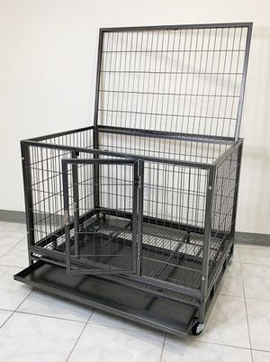 """Photo New $130 Heavy Duty 42x30x34"""" Large Dog Cage Pet Kennel Crate Playpen w/ Wheels for Large Pets"""