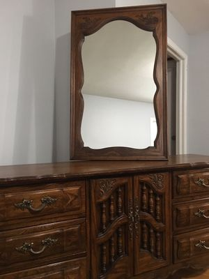 Wood Dresser with Mirror for Sale in Silver Spring, MD