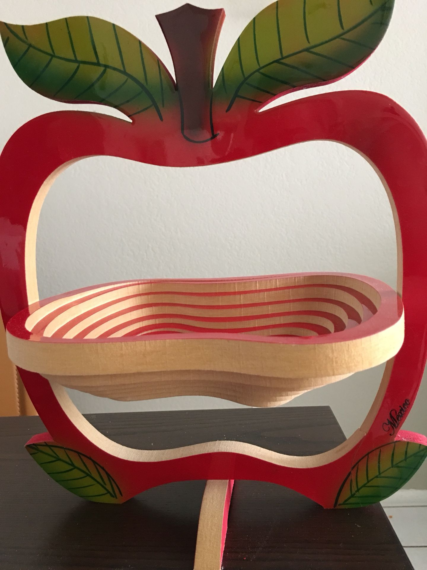 New red fruit basket or for different purpose handmade wood in mexico