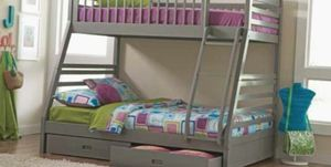 Photo BUNK BEDS Twin Over Full Bunk Bed In Grey FREE MATTRESSES
