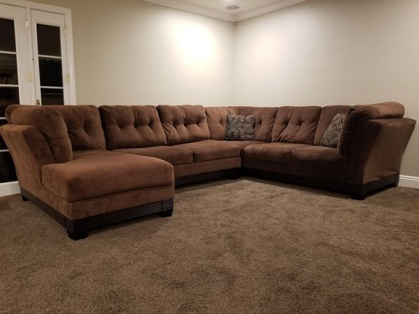 3 Piece Sectional Sofa With Chaise Brown Microfiber Ashley Furniture Usa Made