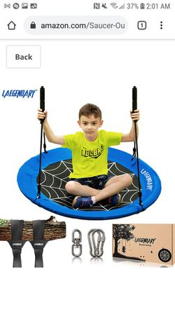 Laegenoary - 40 Inch Flying Saucer Tree Swing for Kids Thumbnail