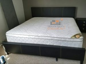 Brand New King Size Leather Platform Bed + Pillowtop Mattress for Sale in Silver Spring, MD