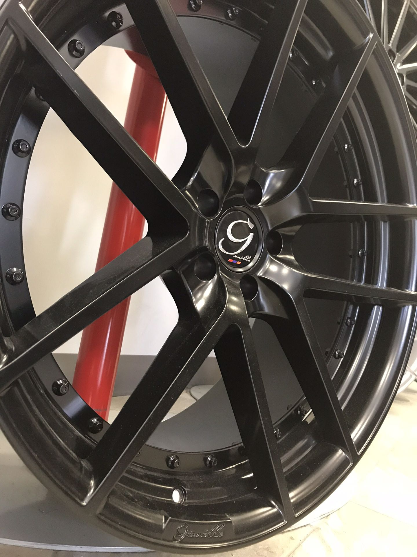 """CRAZY DEAL!! New 22"""" Staggered Giovanna 2-Piece Gloss Black Rims Wheels 5x4.5 Gianelle Challenger"""