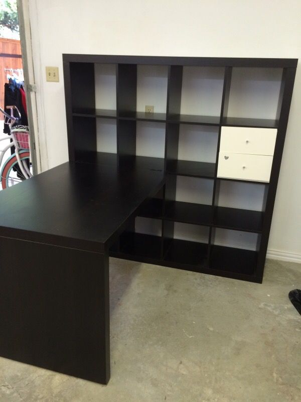 Ikea Kallax Workstation In Brown Black For Sale In Dallas