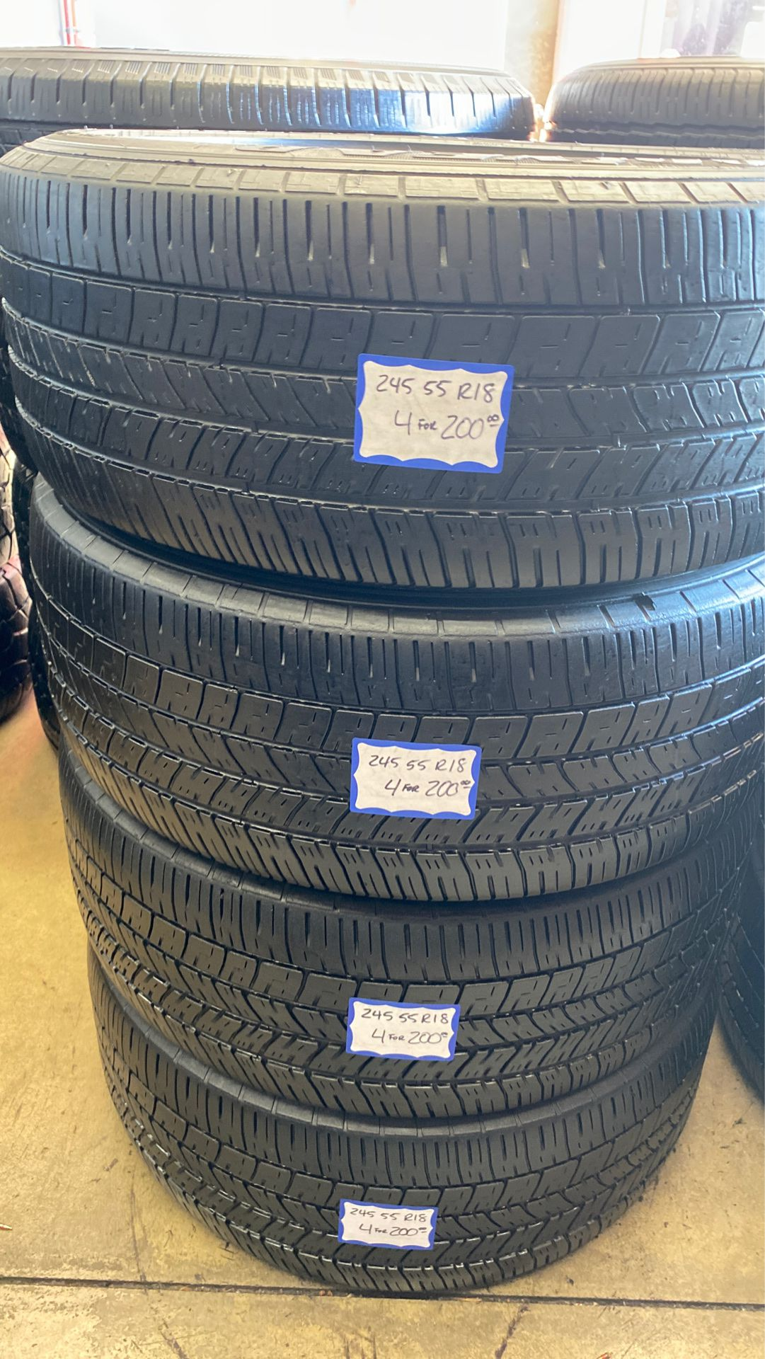 4 used tires 245/55/R18 good years. Free mount and high speed balance included