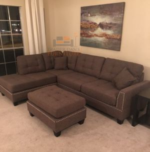 Brand New Coffee Color Blended Linen Sectional Sofa Couch + Ottoman for Sale in Silver Spring, MD