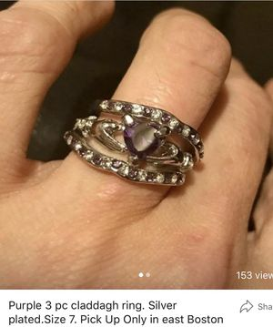 3pc silver plate/purple sapphire claddagh ring. Size7 for Sale in Boston, MA