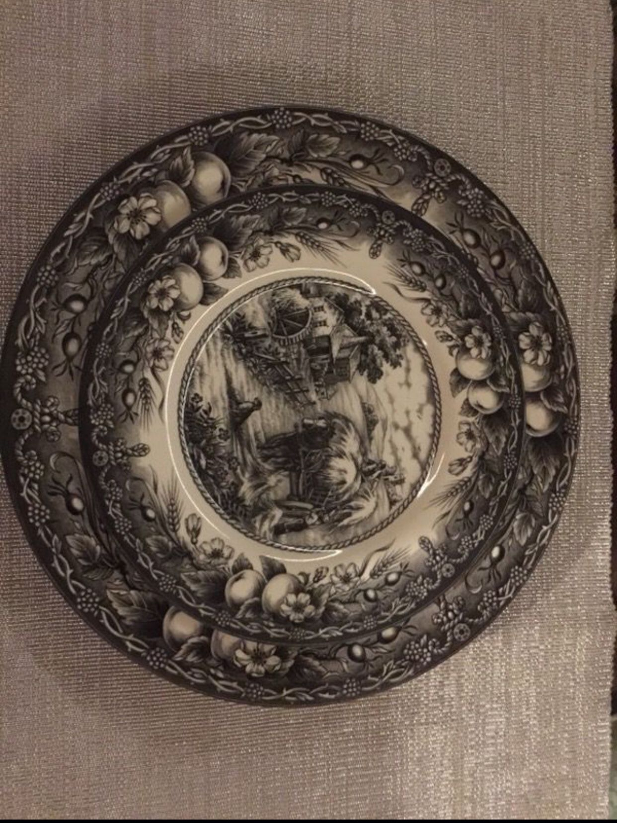 English Royal Stafford Earthenware Hayride plates