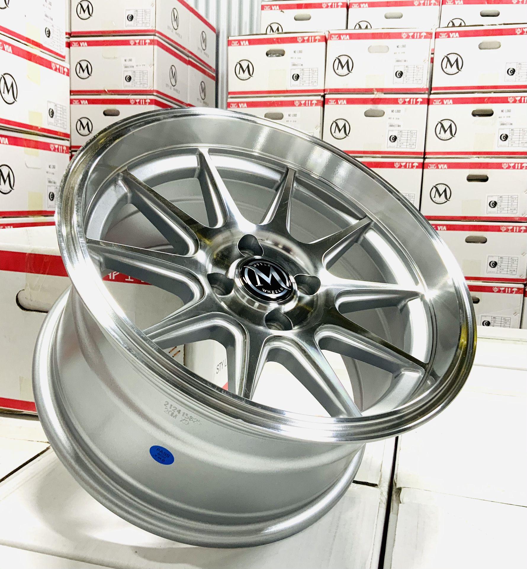 """15"""" Rims 4x100 +20 15x8 All 4 Wheels New $350"""
