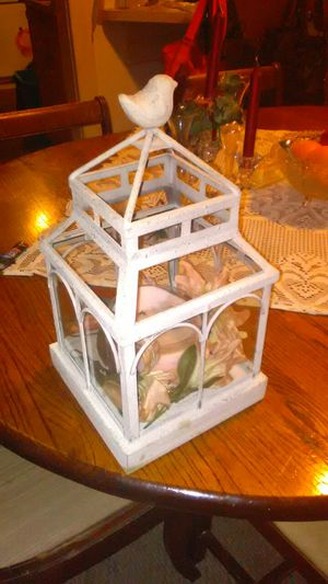 Party Lite 3 Wick Candle and Large White Distressed and Glass Bird House Center Piece. for Sale in Barryton, MI